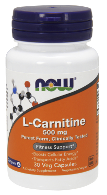 NOW: CARNITINE 500mg 30 CAPS 30 caps