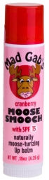MAD GAB'S: Moose Smootch Lip Balm (Stick) SPF15 Cranberry 0.15 oz