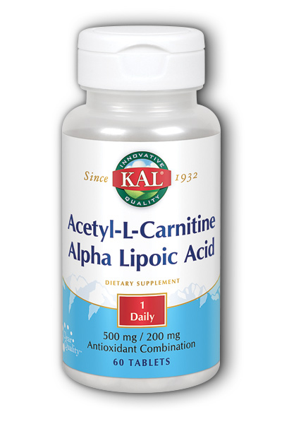 Acetyl-L-Carnitine and Alpha Lipoic Acid, 60 Tab 500mg 200mg