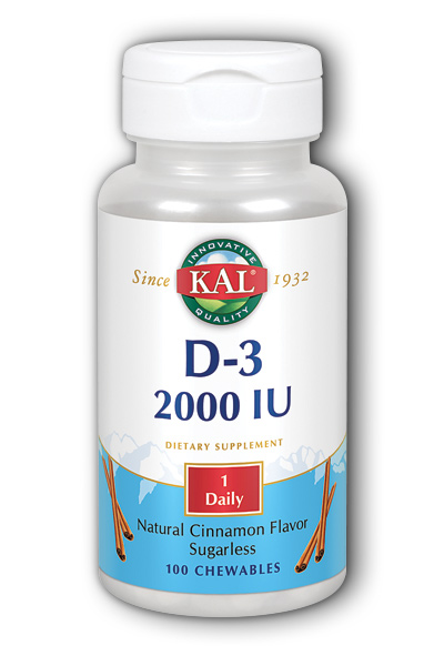 Kal: D-3 Chewable 2000 IU 100 ct