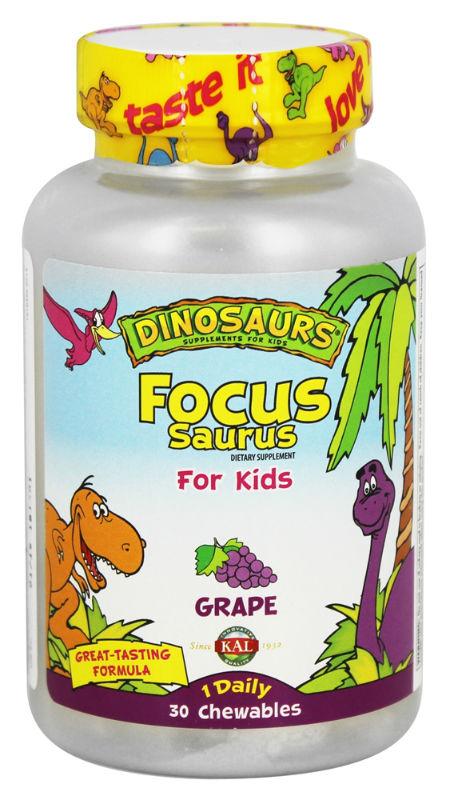 KAL: Focus Saurus For Kids Grape 30 Chewables