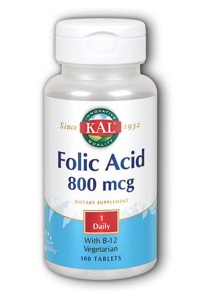 Kal: Folic Acid Plus B-12 100ct 800mcg