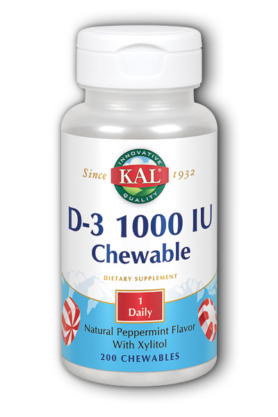 Kal: D-3 1000 IU Peppermint 200ct Chewable
