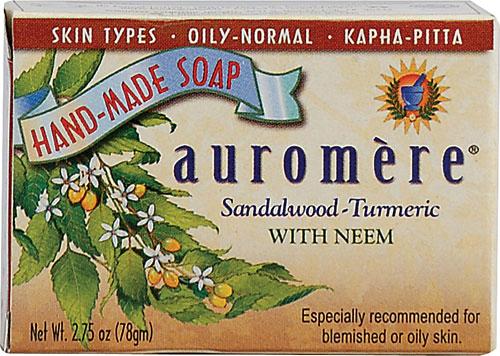 AUROMERE: Ayurvedic Bar Soap Sandalwood Tumeric 0.71 oz