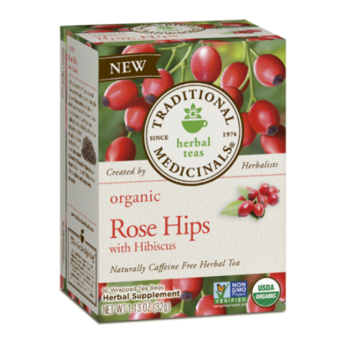 Organic Rose Hips With Hibiscus Tea 16 bag from TRADITIONAL MEDICINALS TEAS