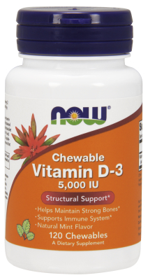 NOW: Vitamin D-3 5000IU Chewable 120 LOZ Mint Flavor
