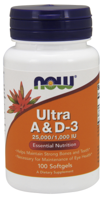 NOW: Ultra Vitamin A And D-3 100 Sg - 25,000IU   1000IU