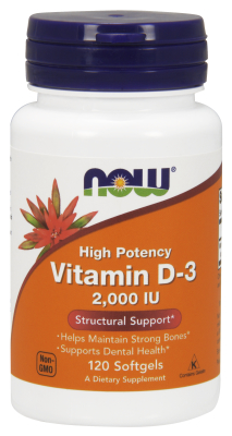 Vitamin D 2000 IU High Potency, 120 Gels (D-3 Cholecalciferol)