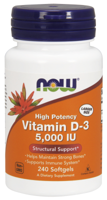 Vitamin D-3 5000 IU 240 Softgels from NOW