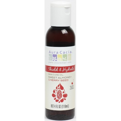 AURA CACIA: Body & Massage Oils Shield & Hydrate Sweet Almond Plus Cherry Seed Oil 4 oz