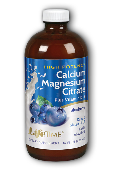 Life Time: Calcium Magnesium Citrate Hi-Potency Blueberry 16 oz Liq