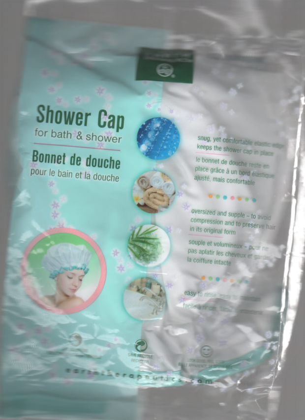 Bouffant Shower Cap in White with Blue Trim