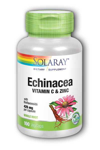 Solaray: Echinacea With Vitamin C & Zinc 100ct 850mg
