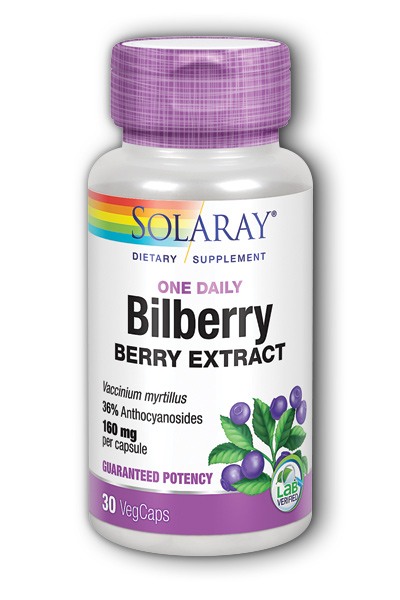 Solaray: One Daily Bilberry Extract 30ct 160mg