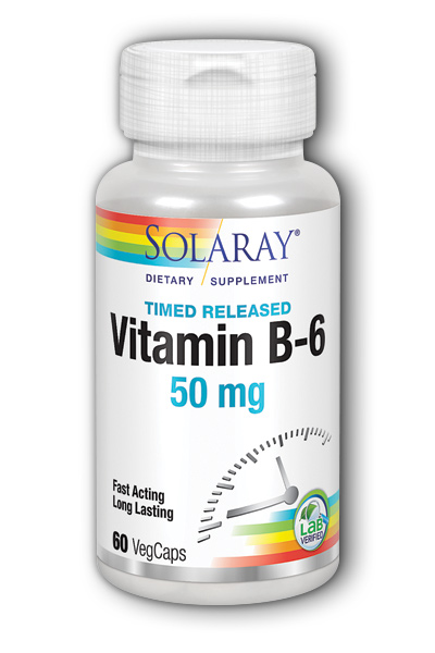 Vitamin B-6 50mg Timed Release, 60 Vegetarian Caps two-stage TR