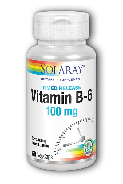 Vitamin B-6 100mg Timed Release, 60 Vegetarian Caps two-stage TR