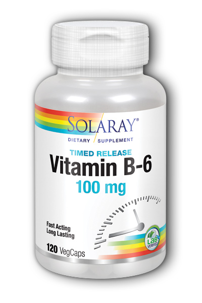 Vitamin B-6 100mg Timed Release, 120 Vegetarian Caps two-stage TR
