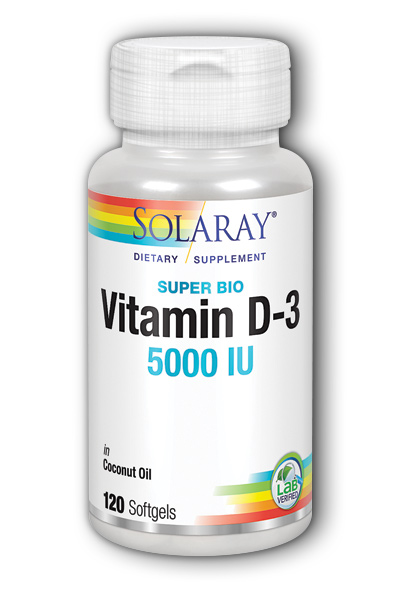 Solaray: Super Bio D-3 5000IU 120 Soft gels