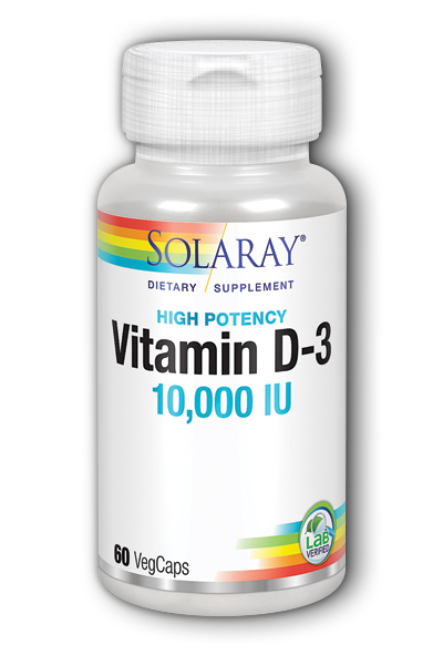 Solaray: Vitamin D-3 10000IU Super Strength 60 Veg Cap