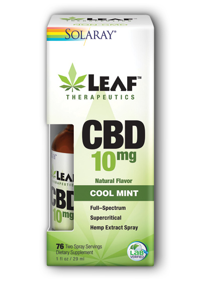 Solaray: Leaf Therapeutics CBD 10mg Cool Mint Spray 1 fl oz