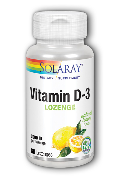 Solaray: Vitamin D-3 2000IU Lemon 60 Lozenges