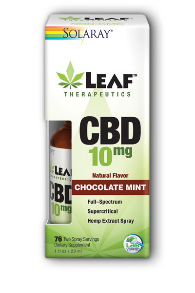 Solaray: Leaf Therapeutics CBD 10mg Chocolate Mint Spray 1 fl oz