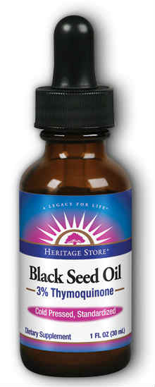 Heritage Store: Black Seed Oil 3% Thymoquinone Gluten Free Immunity Drops Natural (Btl-Glass) 1oz 30ct