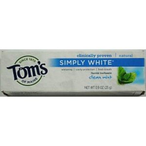 TOM'S OF MAINE: Anticavity Flouride Toothpaste-Clean Mint Simply White Paste Trial 0.9 oz