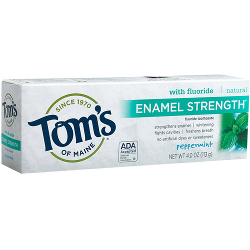 TOM'S OF MAINE: Enamel Strength Toothpaste Peppermint 4 oz