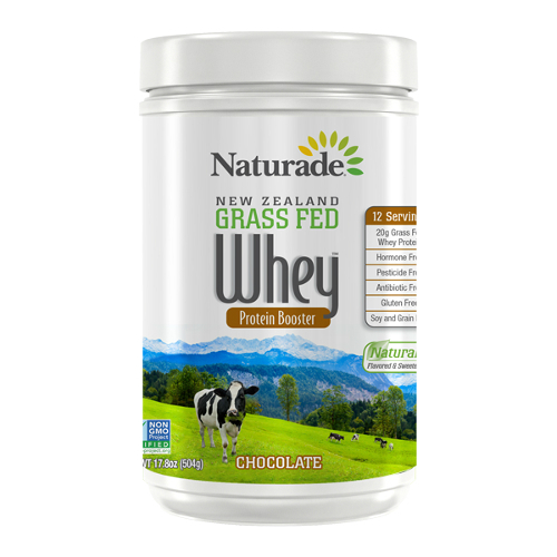 NATURADE: New Zealand Grass Fed Whey Protein Chocolate 12 Serving Canister 17.79 oz