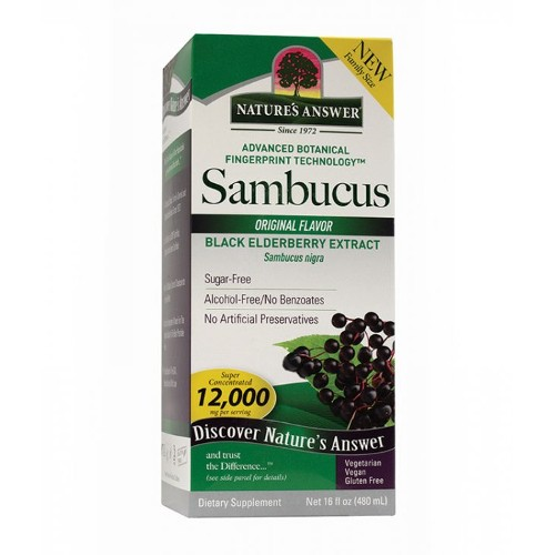 NATURE'S ANSWER: Sambucus (Black Elder Berry) Super Concentrated Family Size 16 oz