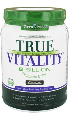 GREEN FOODS CORPORATION: True Vitality Plant Protein Shake with DHA-Chocolate 25.2 oz