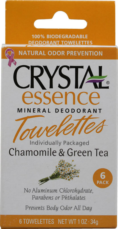 CRYSTAL BODY DEODORANT (French Transit): Deodorant towelettes chamomile & green tea 6 PCS