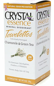 CRYSTAL BODY DEODORANT (French Transit): Deodorant Towelettes Chamomile & Green Tea 24 PCS
