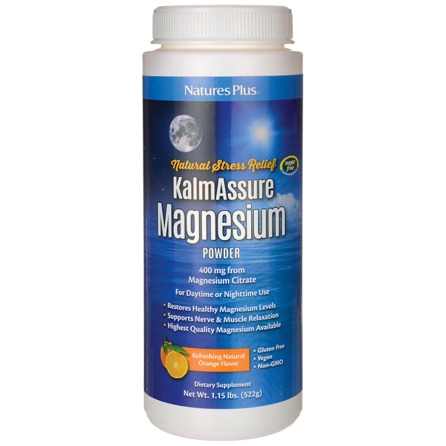 Natures Plus: KalmAssure Magnesium 1.15 lb Natural Orange Flavor