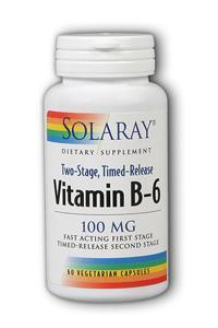 Solaray: Vitamin B-6 100mg Timed Release 60 Vegetarian Caps two-stage TR