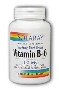 Solaray: Vitamin B-6 100mg Timed Release 120 Vegetarian Caps two-stage TR