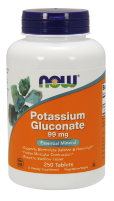 NOW: POTASSIUM GLUCONATE 99mg  250 TABS 1