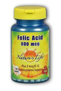 Natures Life: Folic Acid 800 mcg 100ct