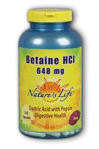 Natures Life: Betaine HCL, 648 mg 250 capsules