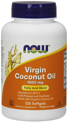 Organic Virgin Coconut Oil 1000mg, 120 Gels Certified Organic