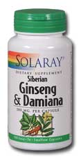 Ginseng and Damiana, 100ct 380mg