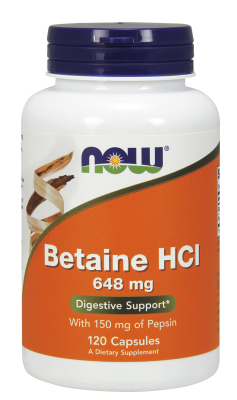NOW: BETAINE HCL 10GR  120 CAPS 120 caps