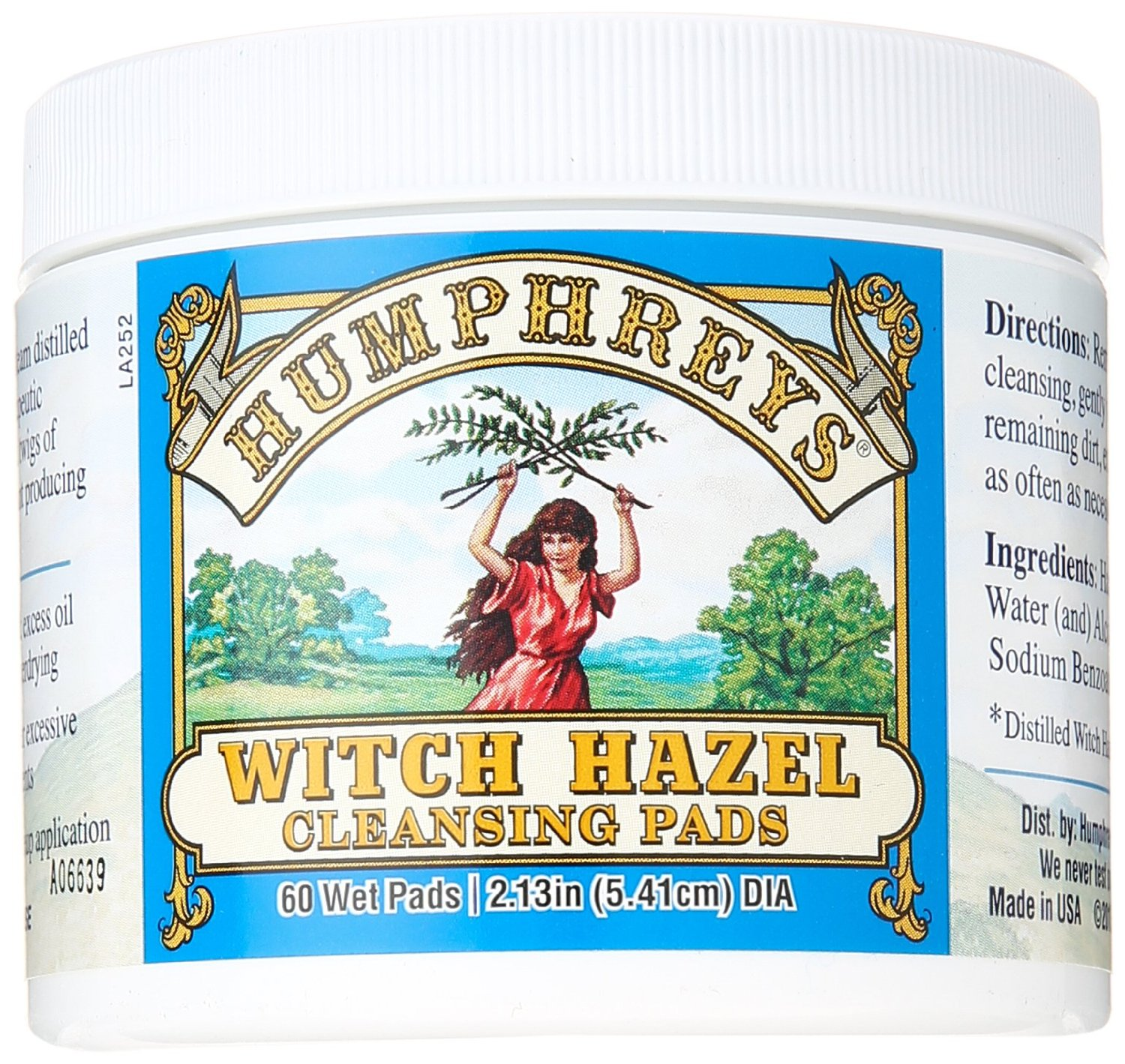 HUMPHREYS PHARMACAL INC: Witch Hazel Astringent Cleansing Pads 60 CT
