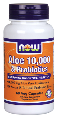 NOW: Aloe Vera 10,000 And Probiotics 60 Vcaps