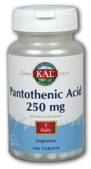 KAL: Pantothenic Acid 250mg 100 ct