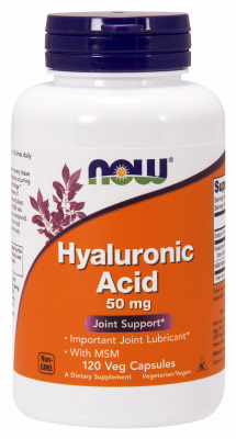 NOW: HYALURONIC ACID 50MG Plus MSM 120 VCAPS