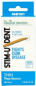 NATURAL DENTIST: Stim-U-Dent Plaque Removers Thin 4 pkt
