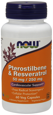 NOW: PTEROSTILBENE 50 MG And RESVERATROL 250 MG 60 VCAPS