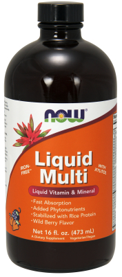 NOW: Liquid Multiple Wild berry Flavor 16 oz Vegetarian NON-GE